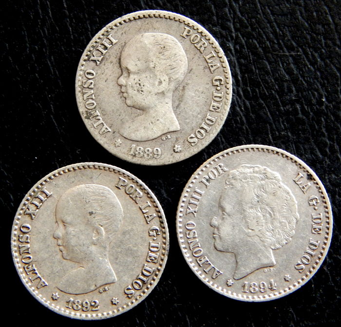 Spain - Alfonso XIII - 50 Cents 1889 *-9 MPM, 1892 *9-2 PGM and 1894 *9-4 PGV - Lot of 3 coins - Scarce - Silver