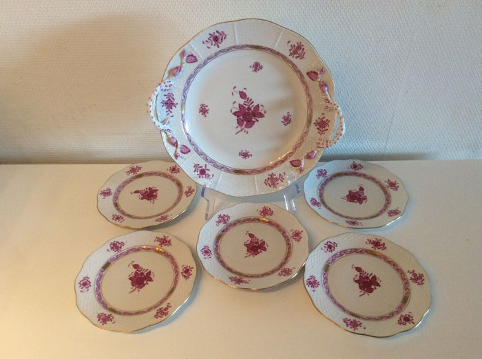 Herend - Serving tray, 5 saucers, - decoration Apponyi Bouquet red