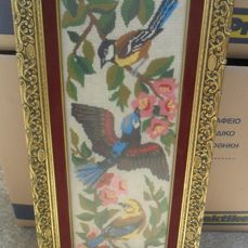 Wooden frame antique embroidered object, with flowers and birds,Greece,20th century