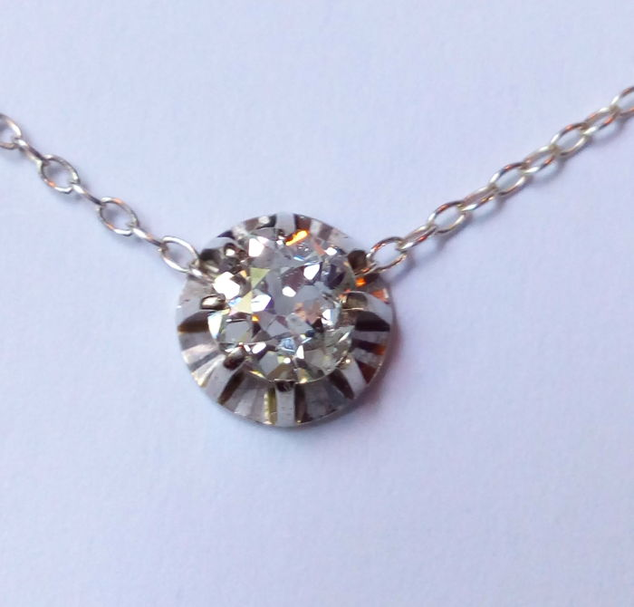 18 k. white gold and platinum necklace with  diamond E - F - Top Wesselton - river - 0.70 ct. - VS II - ** WITHOUT RESERVE PRICE  **