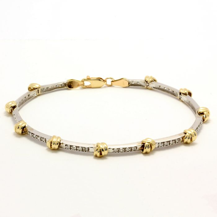 14kt/585 Yellow & White Gold - 0.50 ct Round Cut Diamond, Bracelet; Size: 18.5mm in Length