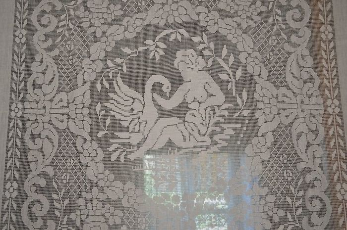 Pure linen curtain with Sicilian drawn thread embroidery, entirely handmade