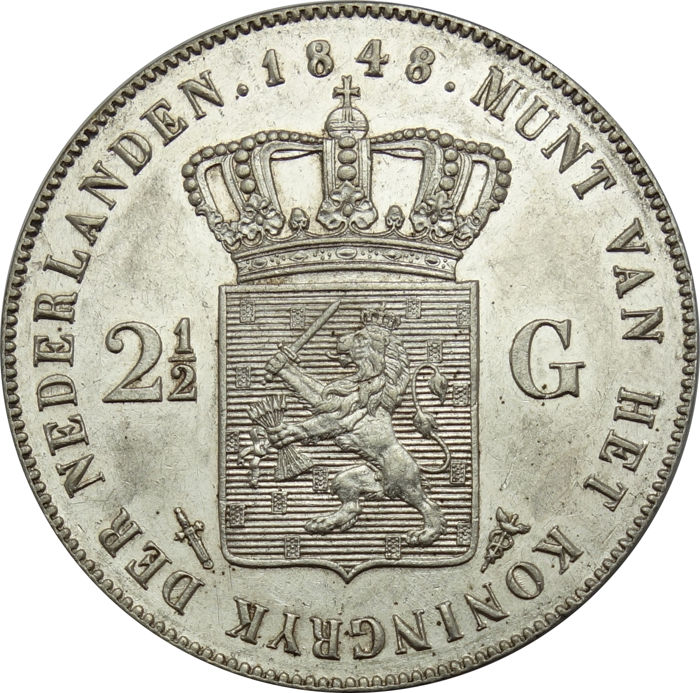 Netherlands - 2½ Guilder 1848 Willem III - silver
