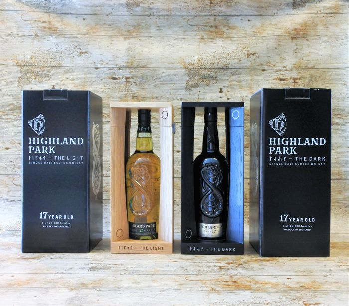 highland park the dark the light both in original wooden show boxes 2 bottles