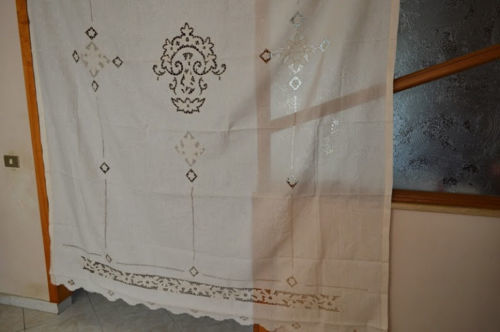 Pure linen curtain with cutwork, Sicilian drawn thread embroidery, satin stitch, entirely handmade