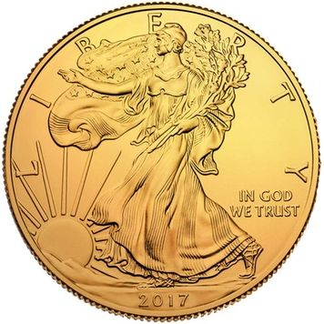 États-Unis - 1 Dollar 2017 'American Silver Eagle' 24 krt gold plated - 1 oz silver