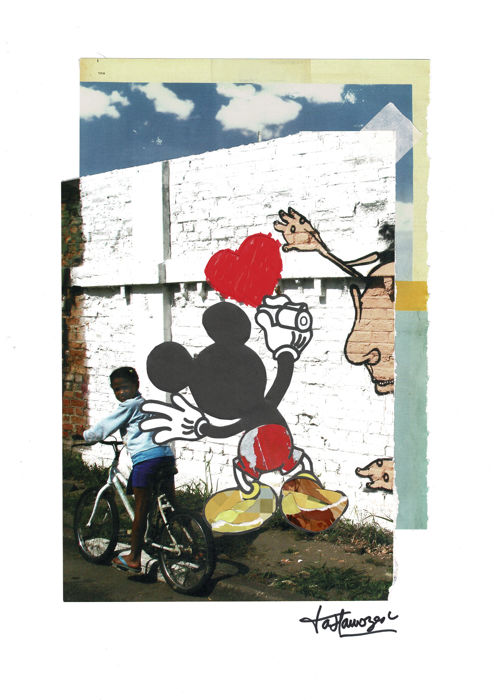 Mickey Graffiti Artist -  Original Collage by ia Llamozas