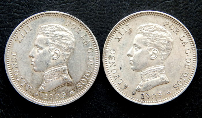 Spain - Alfonso XIII - 2 pesetas 1905 *19-05 SMV - Lot of 2 coins - Silver