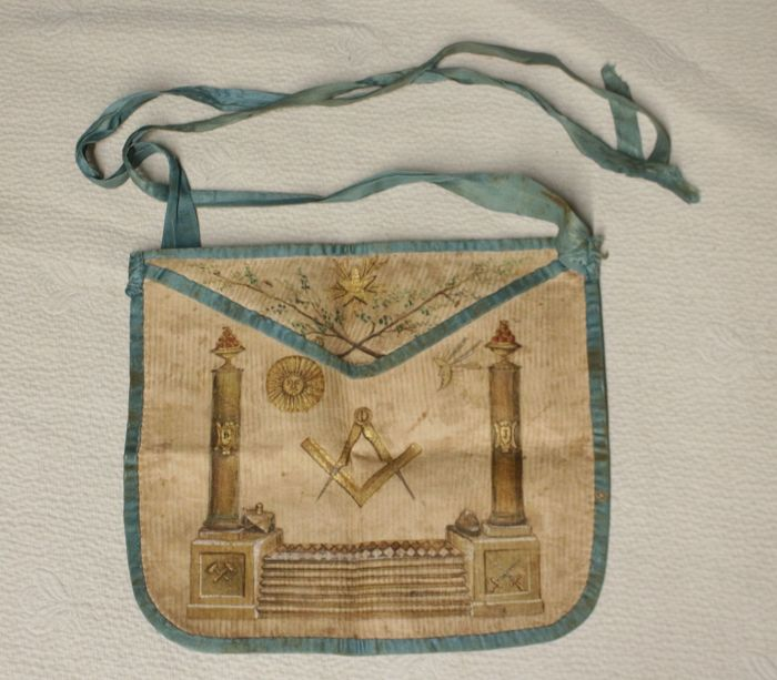Apron of Freemason master ASSP 1800 - skin silk and gold paint