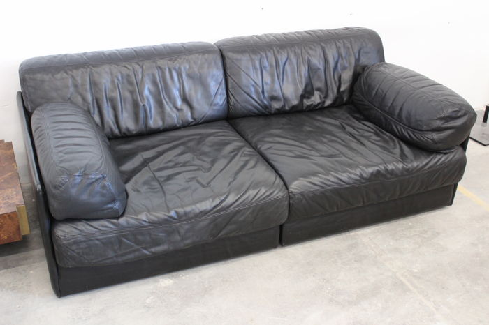 De Sede - 'DS-76' 2-2.5 black leather sofa consisting of 2 elements -  Catawiki