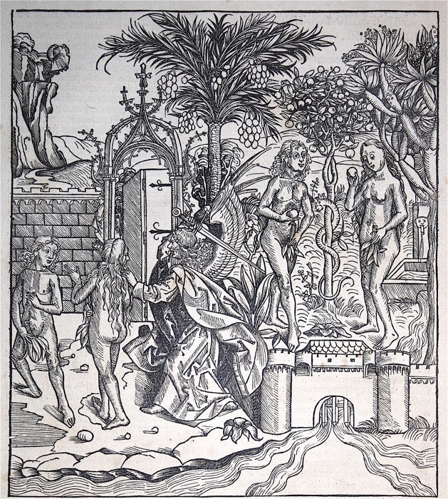 H. Schedel  - Temptation and expulsion from the Garden of Eden