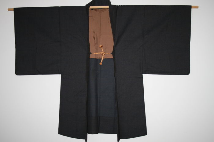 Wool and silk men's kimono haori - Japan - Mid 20th century