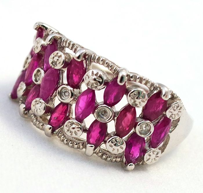 14ct White Gold Ruby &  Diamonds Ring;  Size N 1/2