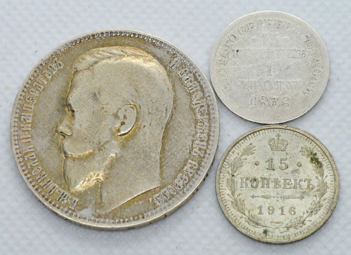 Russia - 3 coins 1838/1916 - silver