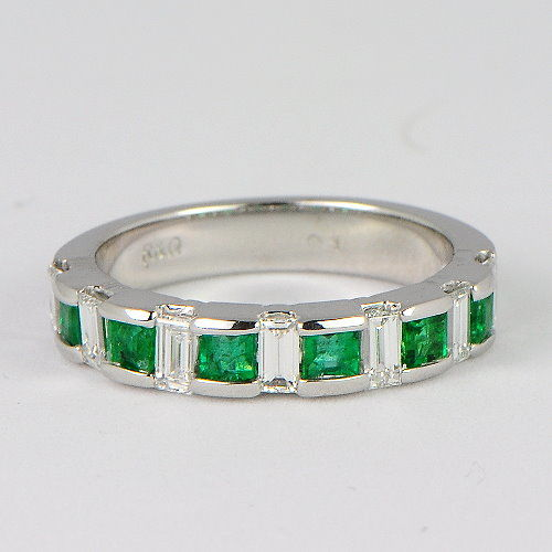 Band ring with 1.25 ct emerald and 0.5 ct diamonds