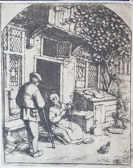 Adriaen van Ostade (1610 - 1685) - Farmer sitting on the doorstep