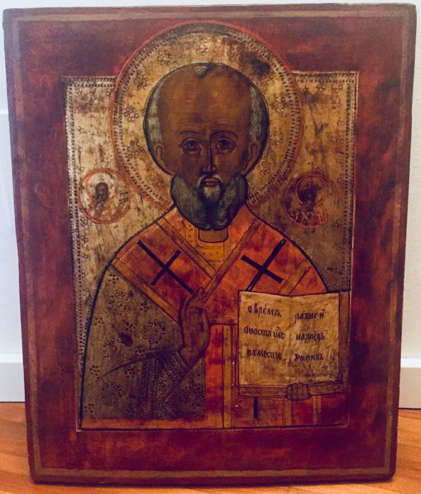 Painting - Russian icon depicting Saint Nicholas (40 x 31 cm)