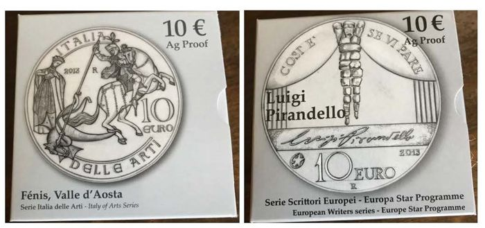 Italy - Lot of  2 x 10 Euro 2013 commemorative coins - Proof - Silver (see description)