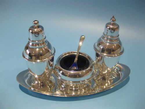 3-piece English silver plated dressing set with blue glass bowl and tray, by Pepper & Hope
