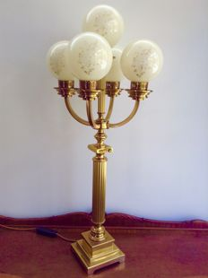 Classical Empire style brass table lamp with frosted glass spheres