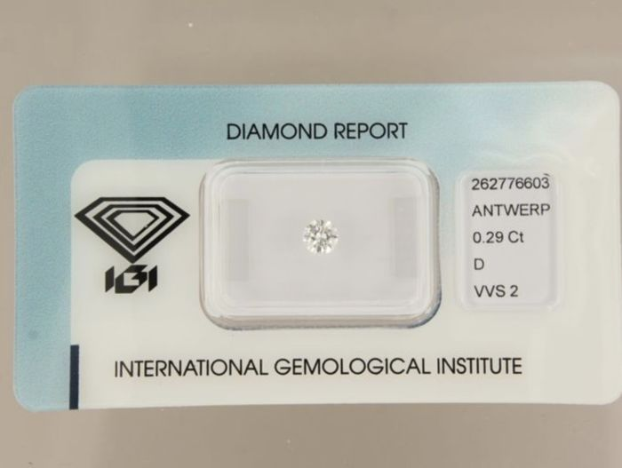 Brilliant cut diamond, 0.29 ct, D, VVS2