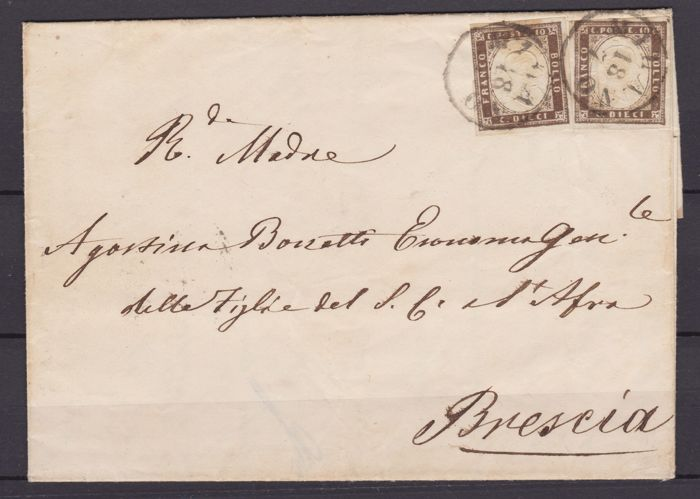 Sardinia 1858. Cent. 10  purplish dark brown, two specimens on letter from Milan to Brescia - Sass.  No  14Ab