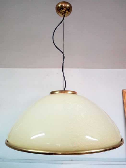 Murano (Label VM 004) - Bell-shaped ceiling lamp in glass and brass