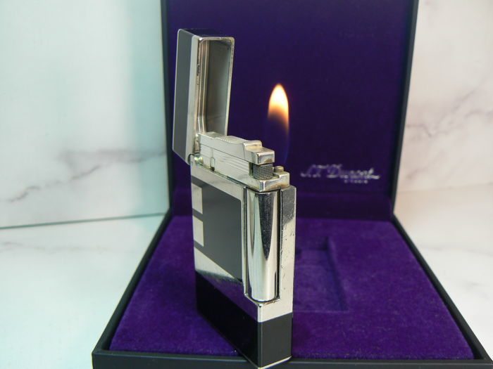 St Dupont lighter L2; Icon Palladium, Chinese lacquer