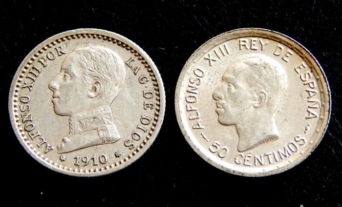 Spain - Alfonso XIII - 50 Cents 1910 *1-0 PCV and 1926 PCS - Lot of 2 coins - Silver