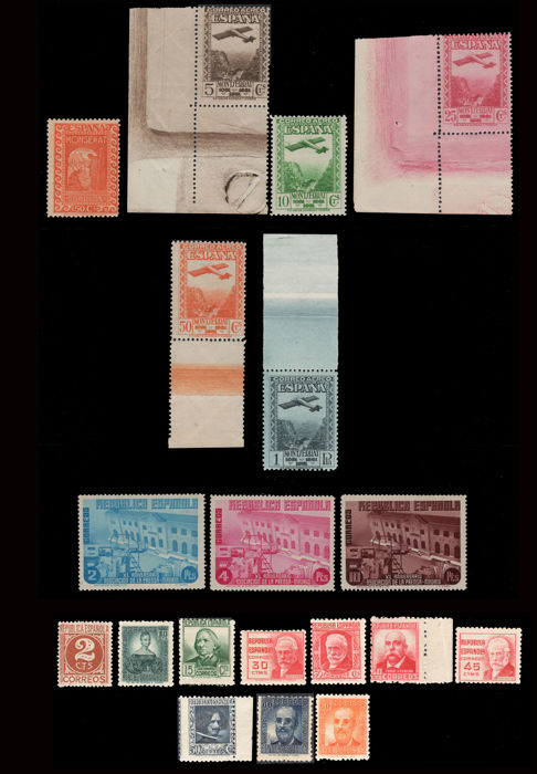 Spain 1931/1936 - Lot of 1st centenary stamps and complete series. 19 Values - Edifil 645, 650/54, 707/9, 731/40