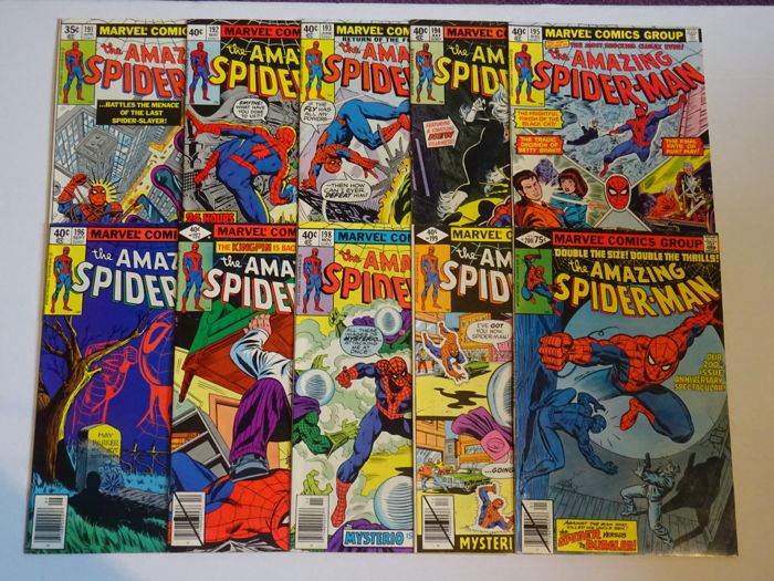 Amazing Spider-Man #191 to #193 and #195 to #200. Beautiful run of comics all in High Grade.