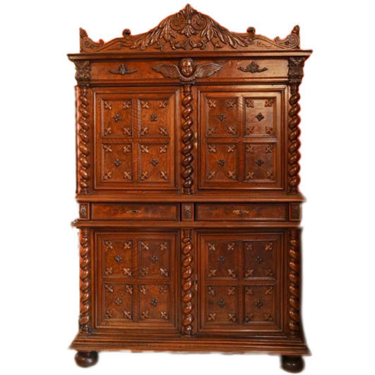 Two-piece sideboard made of solid walnut in revival of Louis XIII style France, ca. 1880