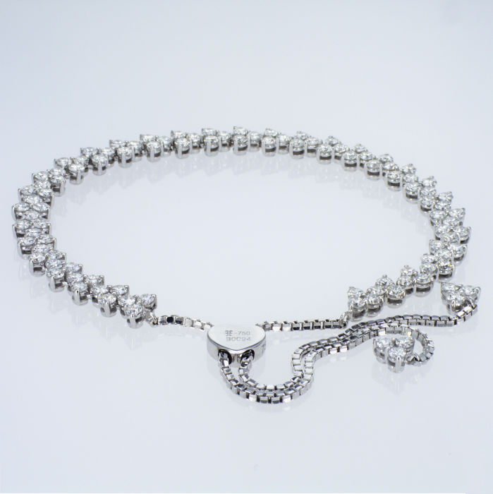3,67 Ct Diamonds Bracelet - 18 kt Solid White Gold – All Sizes