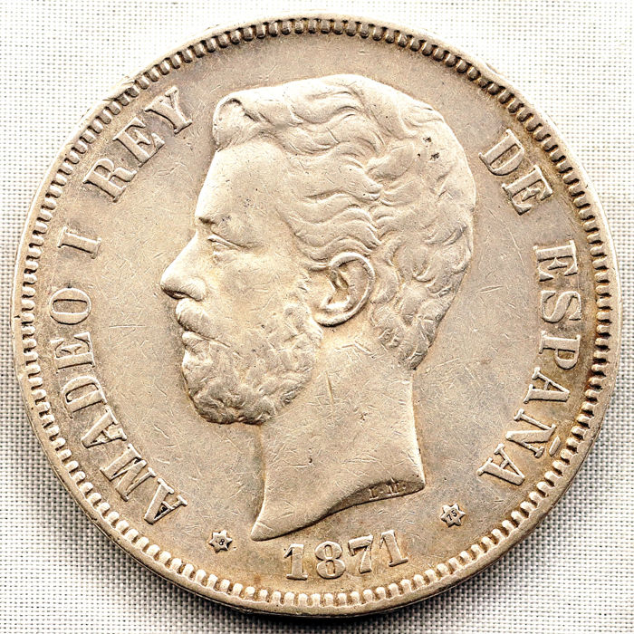 Spain - Amadeo I - 5 silver Pesetas - 1871*18-75 - Madrid