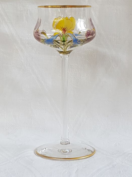Meyr's Neffe - Art Nouveau wine glass with enamel floral painting