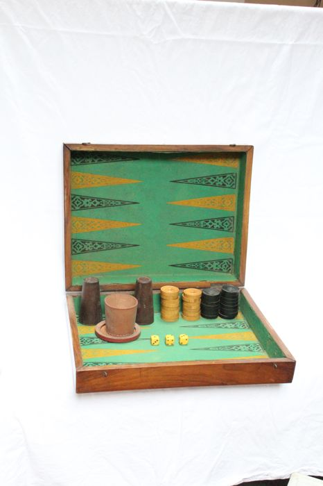 Mahogany Backgammon set with wooden cups&leather cup support - ca.1950
