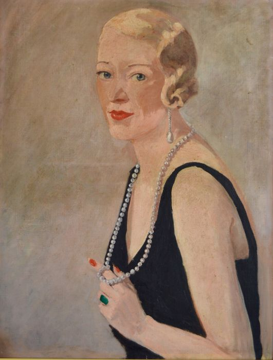 French school (early 20th century) - Portrait of an attractive lady with pearl necklace