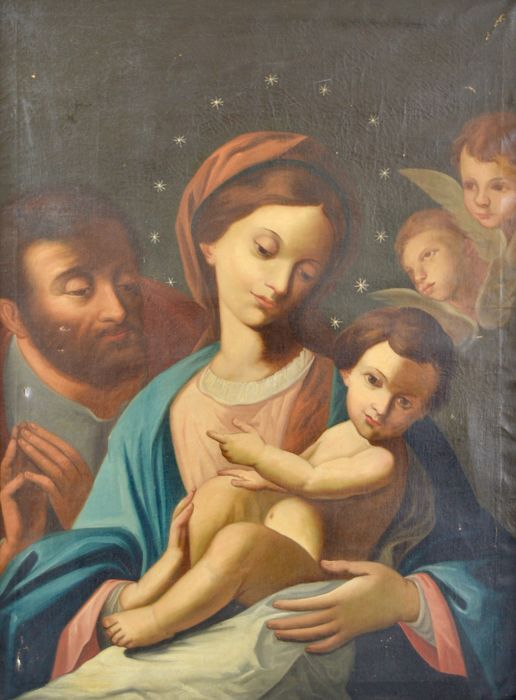 Continental school. (18th/19th century) - The Madonna and child with Joseph and angels.