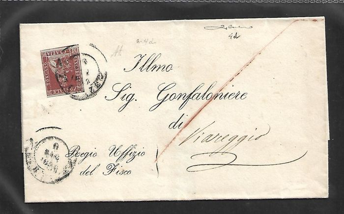 Tuscany, 1856 – 1 cr. carmine on grey, used, isolated on letter from Florence to Viareggio – Sass. no. 4d