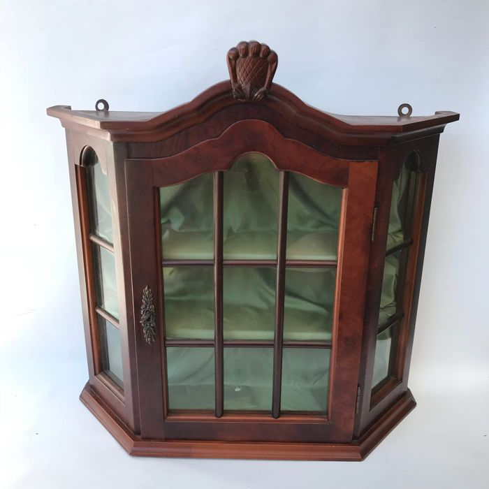 Walnut hanging display cabinet with crest, mid 20th century