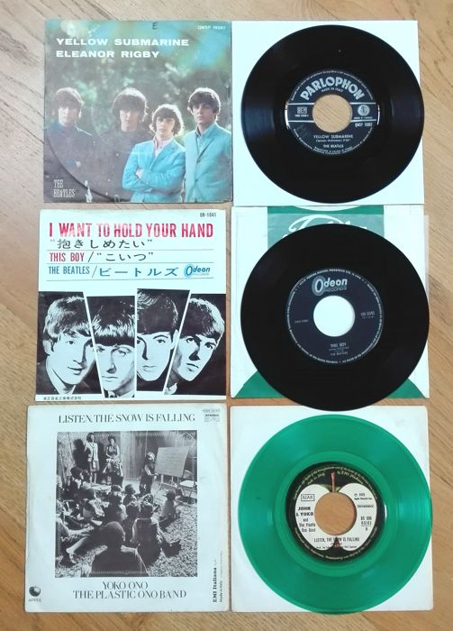 The Beatles- I want to hold your hand-Japan 1966(different pictures sleeve) rare! + John and Yoko-Happy xmas (war is over). 1972 misprinted credits on label, italian pressing green wax + Eleonor Rigby/ Yellow submarine. Italy 1-9- 1966 parlophon.