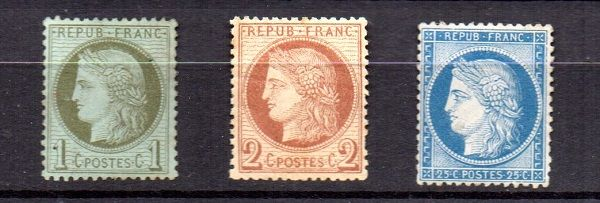 France 1872 - Selection of Céres   - Yvert n° 50 - 51  and 60A