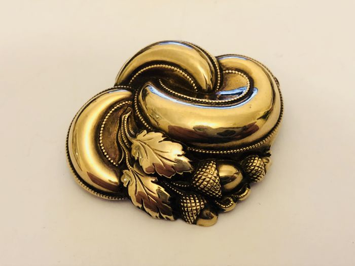 Antique gold - silver brooch - pendant 18 kt Germany circa 1890