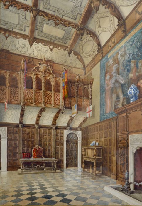English School. (19th century) - The interior of a great hall