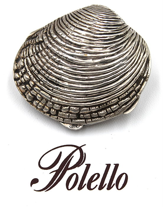 "Vintage double shell ""Polello"" silver 800 - Handcrafting - marked PRIMI 1900"