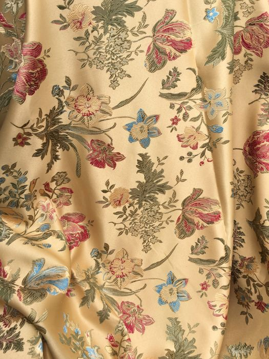 2.80 X 2.90 M - San leucio damask fabric in lampas and satin - Louis XVI - Cotton, Satin - After 2000