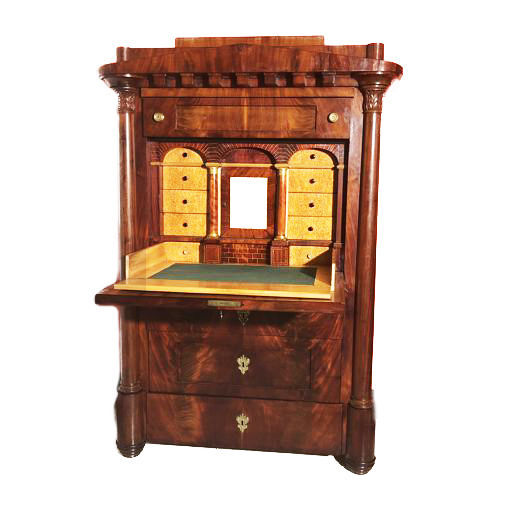 Temple-shaped Conical Biedermeier Secretaire - crotch mahogany and birch - Northern Europe, 1830 circa, LOW RESERVE - shipping to any destination in Europe