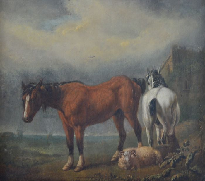 Dutch school (19th century) - A landscape with two horses and a ram
