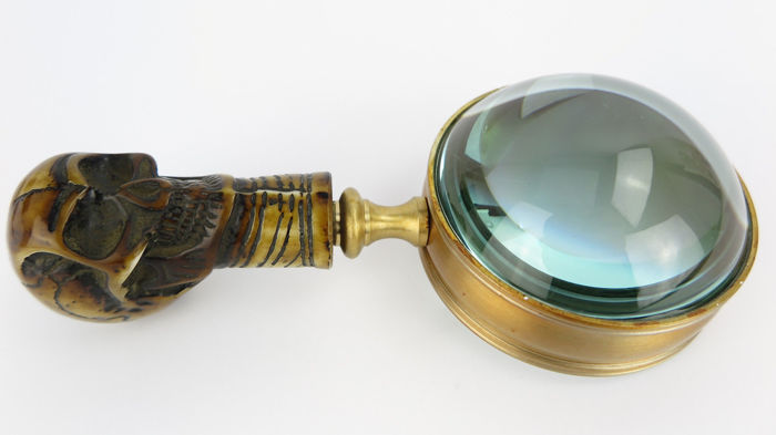 Ohne - Antique Brass Magnifier - Look skull for coins.