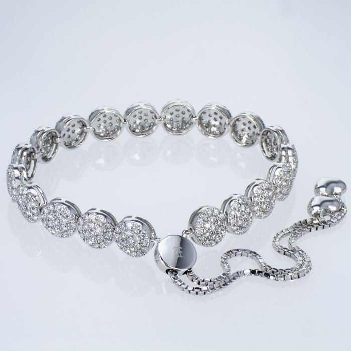 3,74 Ct Tennis Diamonds Bracelet - 18 kt Solid White Gold – All Sizes